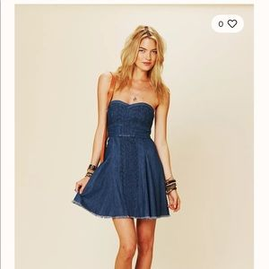Free People Fit & Flare Denim Tube Dress Embroider